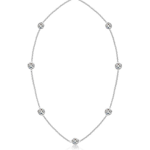 3.50 Ct Diamonds Yard Necklace 18 Inches Bezel Setting White Gold 14K Necklace