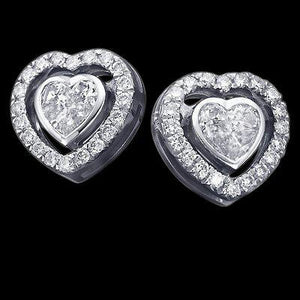3.50 Ct. Heart Cut Diamond Stud Halo Earring White Gold Halo Stud Earrings
