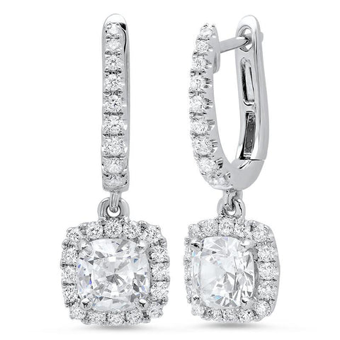 3.50 Ct Jewelry Cushion And Round Halo Diamond Dangle Earring White Gold Dangle Earrings