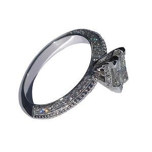 3.51 Carat Princess Diamond Engagement Ring Micro Pave Engagement Ring