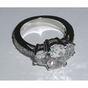 3.51 Carats White Gold Oval Diamond Engagement Ring Three Stone Three Stone Ring