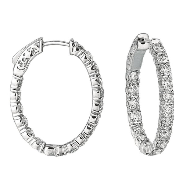 3.57 Carat Diamonds Hoop Earring Oval Shape Hoop Earring 10 Pointer Diamond White Gold Hoop Earrings