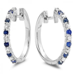 3.6 Ct Ceylon Sapphire And Diamond Hoop Earrings Gemstone Earring