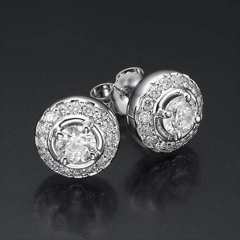 3.60 Carats Gorgeous Round Cut Diamonds Lady Studs Earrings Stud Earrings