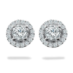 3.60 Carats Round Halo Diamond Stud Earring White Gold Jewelry Halo Stud Earrings