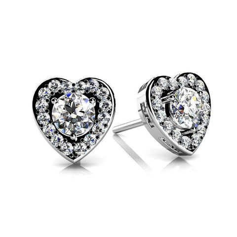 3.60 Ct Gorgeous Round Cut Diamonds Heart Shaped Earring Halo Studs Halo Stud Earrings