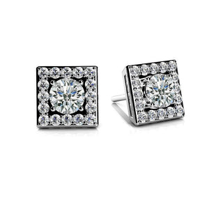 3.60 Ct Square Shaped Stud Halo Earrings Sparkling Round Diamonds White Gold Halo Stud Earrings
