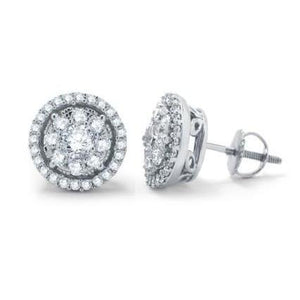 3.70 Carats Women Studs Halo Earrings Round Cut Diamonds Halo Stud Earrings