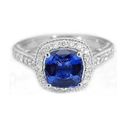 3.70 Ct Ceylon Blue Sapphire Diamonds Ring White Gold 14K Gemstone Ring