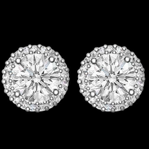 3.75 Carat Diamond Studs Earrings Diamond Halo Earring Gold White Stud Halo Stud Earrings