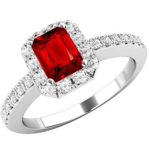 3.75 Carats Emerald Cut Ruby And Round Diamonds Ring 14K White Gold Gemstone Ring