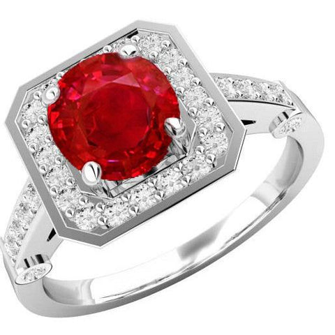 3.75 Carats Red Ruby And Diamonds Ring White Gold 14K Gemstone Ring