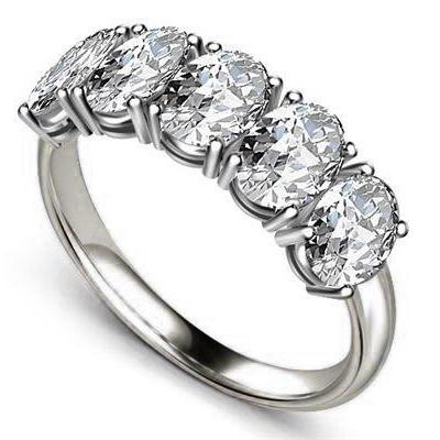 3.75 Ct Prong Oval Cut Diamond 5 Stone Band Gold Jewelry Half Eternity Band