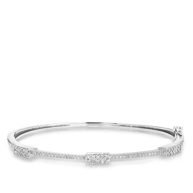 3.75 Ct Round Cut Diamonds Women Bangle Bracelet 14K White Gold Bangle
