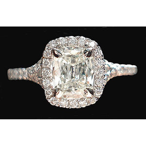 3.76 Ct. Cushion Center Halo Diamond Engagement Ring Halo Ring