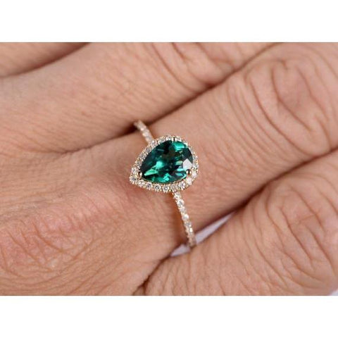 3.8 Ct Pear Shaped Green Emerald With Diamond Ring Gemstone Ring