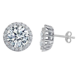 3.80 Carats Round Brilliant Cut Halo Diamonds Studs Earrings White Gold Halo Stud Earrings