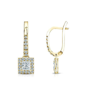3.80 Carats Sparkling Diamonds Dangle Earrings Yellow Gold 14K New Dangle Earrings