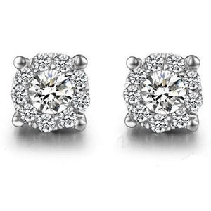 3.80 Ct Diamond Women Stud Halo Earrings White Gold Halo Stud Earrings