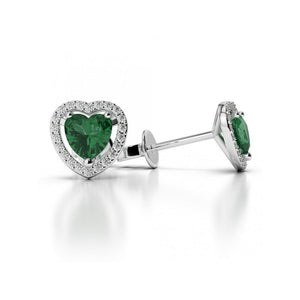 3.80 Ct Heart Cut Emerald With Round Diamonds Studs Halo White Gold 14K Studs- Halo