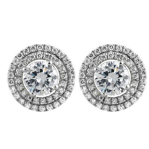 3.80 Ct Round Cut Diamonds Micro Pave Halo Stud Earrings Halo Stud Earrings