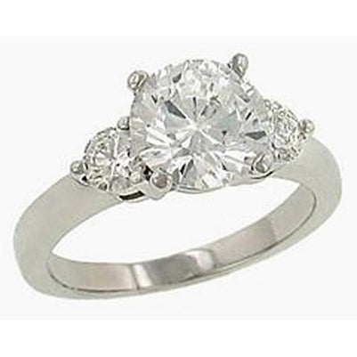 3.81 Ct. Diamonds 3 Prong Ring 3 Stone White Gold Ring Three Stone Ring