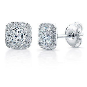3.90 Carats Cushion Halo Diamond Stud Women Earring Gold Jewelry Halo Stud Earrings