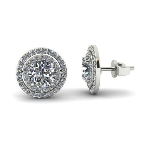 3.90 Carats Halo Round Cut Diamonds Women Studs Earring White Gold Halo Stud Earrings