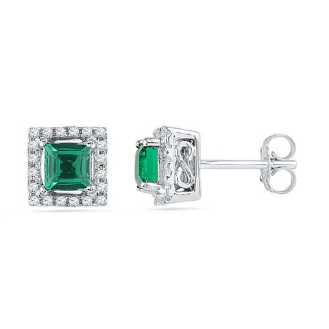 3.90 Carats Prong Emerald With Diamonds Pave Studs Earrings Halo Gold White Gemstone Earring