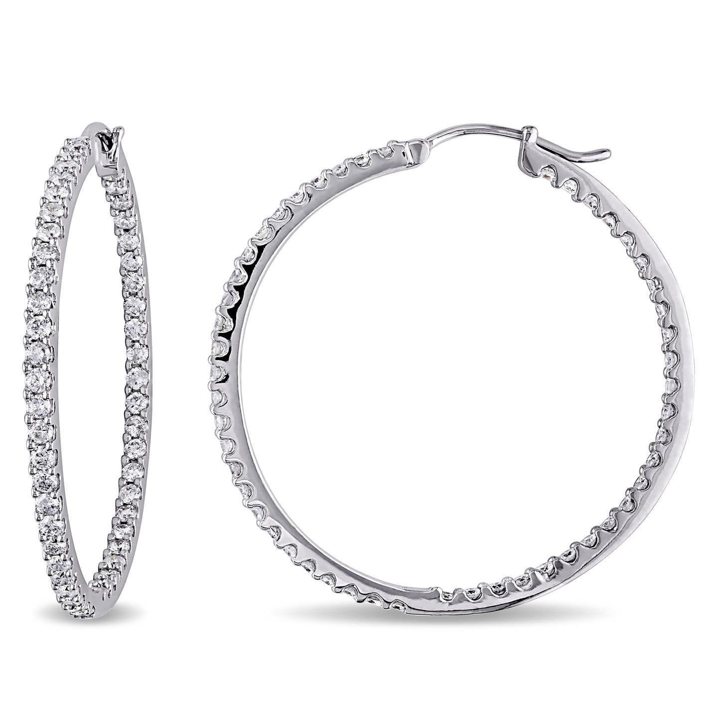 3.90 Ct. Brilliant Cut Sparkling Diamonds Hoop Earrings Gold White Hoop Earrings