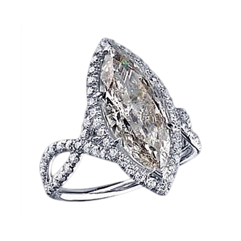 3.91 Carat Marquise Diamond Ring White Gold Pave Fancy Diamonds Ring Ring