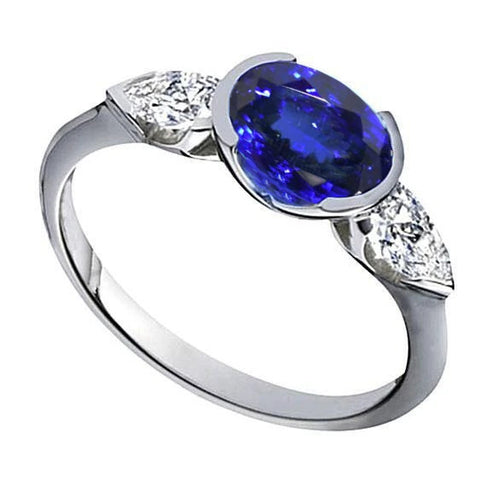 3 Ct 3-Stone Oval Aaa Tanzanite White Gold 14K Ring