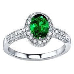 3 Ct Oval Cut Green Emerald With Diamond Ring White Gold 14K