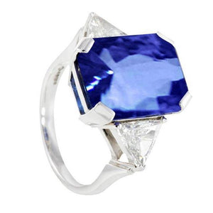 3Stone Diamonds 5.01Ct Ceylon Sapphire Radiant Cut Ring Gemstone Ring