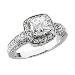 4 Carat Cushion Center Halo Diamond Solitaire With Accents Ring Halo Ring