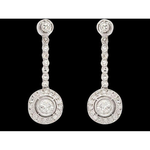 4 Carat Diamonds Dangle Earring Hanging White Gold Earring Dangle Earrings