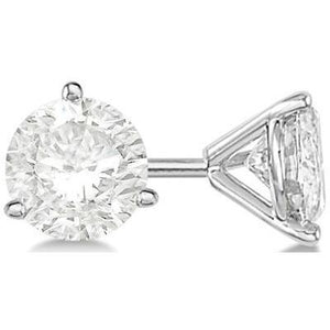 4 Carats 3 Prong Set Solitaire Round Diamond Stud Earring White Gold 14K Stud Earrings