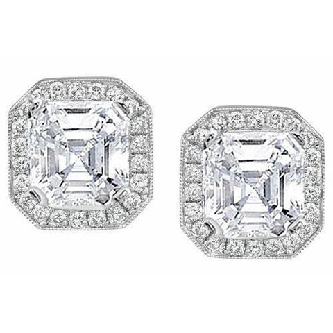 4 Carats Asscher And Round Halo Diamond Stud Earring White Gold 14K Halo Stud Earrings