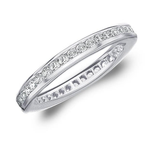 4 Carats Channel Set Round Diamond Eternity Wedding Band Gold 14K Eternity Band