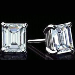 4 Carats Emerald Cut Stud Diamond Women Fine Earring White Gold 14K Stud Earrings