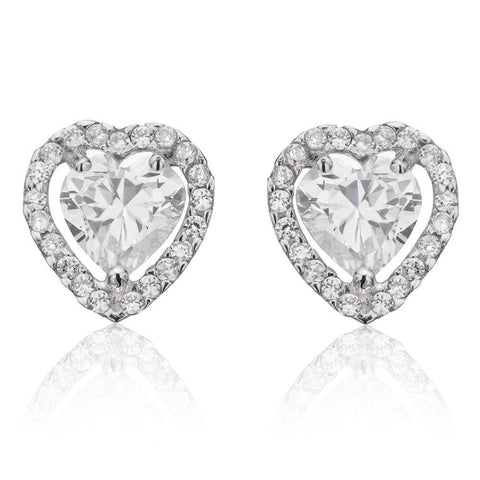 4 Carats Halo Heart And Round Cut Diamonds Stud Earrings Halo Stud Earrings