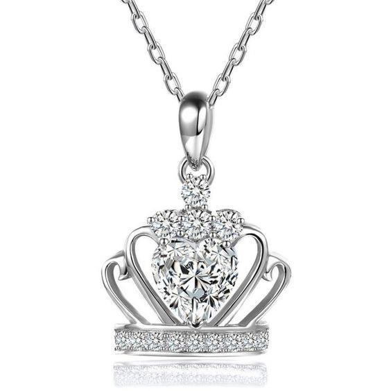 4 Carats Heart & Round Cut Diamonds Crown Pendant Necklace White Gold Pendant