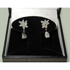 4 Carats Pear Shape Marquise Diamond Dangle Hanging Earrings Dangle Earrings