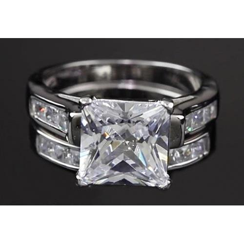 4 Carats Princess Cut Diamond Engagement Ring Set White Gold 14K Channel Setting Engagement Ring Set
