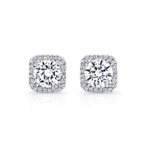 4 Carats Round Cut Diamond Stud Halo Earring Fine Gold Women Jewelry Halo Stud Earrings