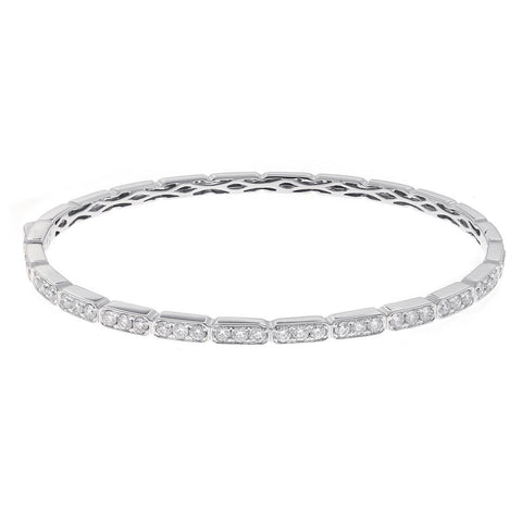 4 Carats Round Micro Pave Set Diamond Bangle Bracelet White Gold 14K Bangle