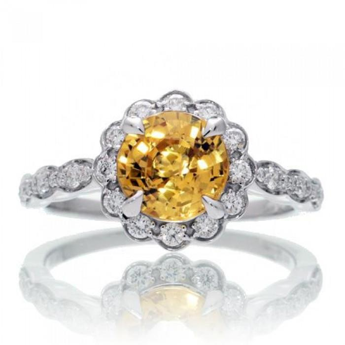4 Carats Round Yellow Sapphire Diamond Ring Lady Men Gold Jewelry Gemstone Ring