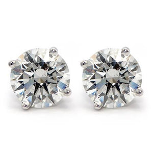 4 Carats Rounds Sparkling Diamonds Lady Stud Earrings White Gold 14K Stud Earrings