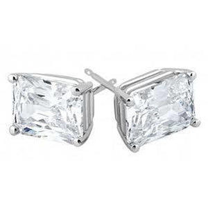 4 Carats Solitaire Radiant Cut Diamond Stud Earring White Gold 14K Stud Earrings
