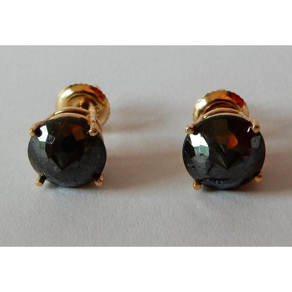 4 Carats Stud Earrings Round Black Diamonds Nice Yellow Gold Finish Stud Earrings
